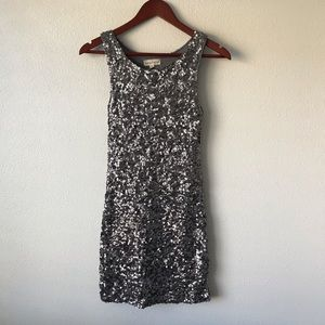Amber blue silver sequin mini dress special grey